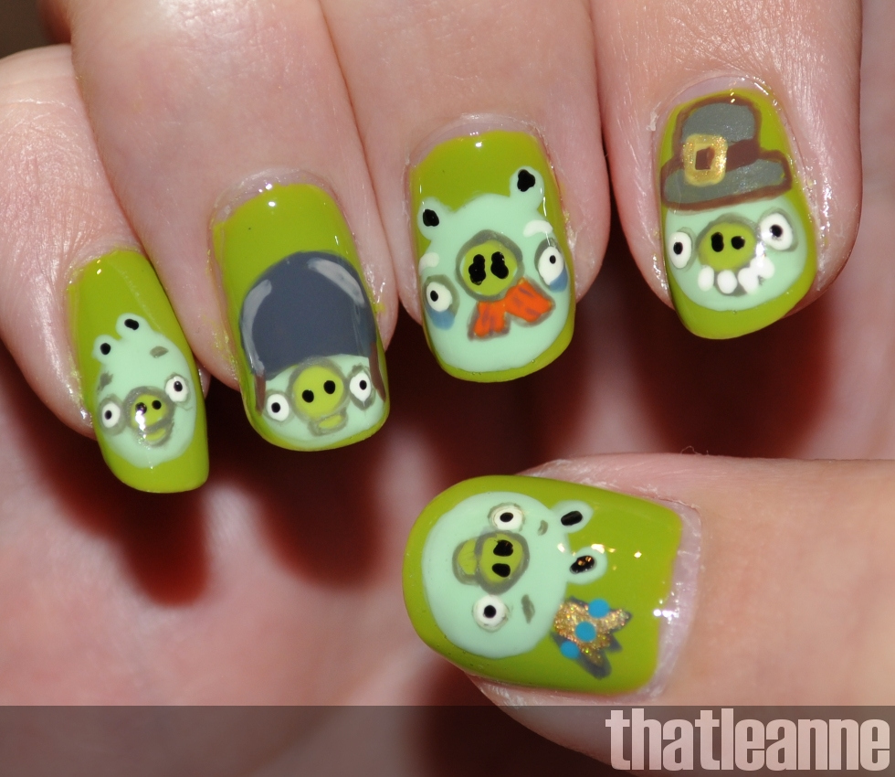 thatleanne: Angry Birds Nail Art feat. the piggies!