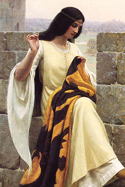 Edmund Blair Leighton - Stitching the Standard