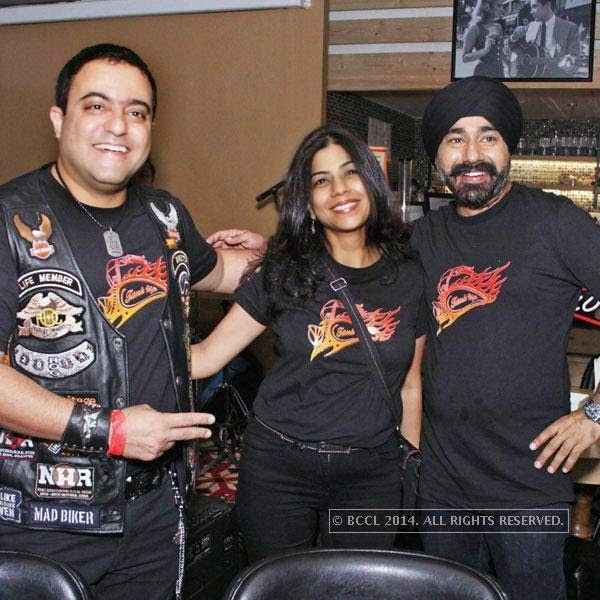 Bikram Puri, Seema and Rajan Sethi during bikers' night at AMPM Cafe & Bar, in Delhi.