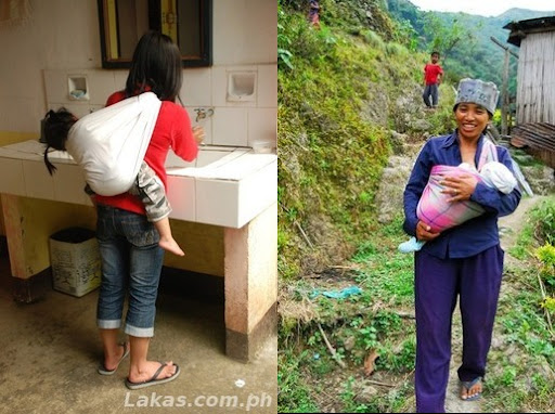 (Left) Mother carrying her child while washing the dishes; (Right) Mother carrying her child while walking down the steep slopes of Batad - Photo by Maki Romulo Bajit; Both pictures were taken in Batad, Ifugao