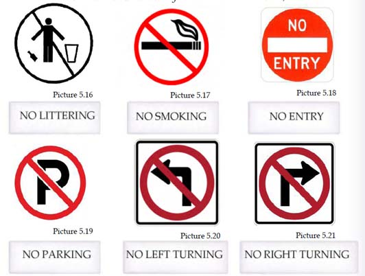 Signs in the picture: no littering, no smoking, no entry, no parking