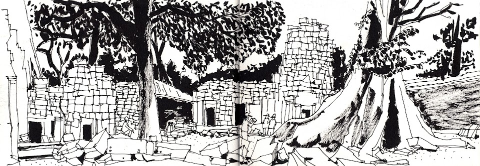 Ta Prohm temple sketch