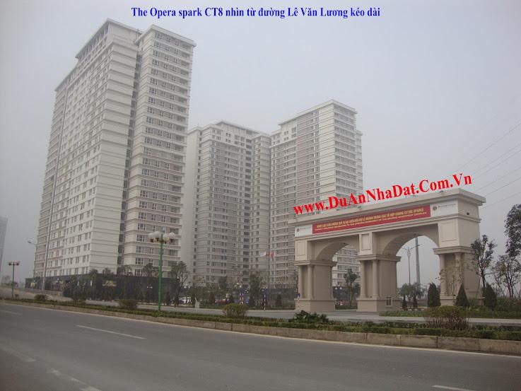 Chung cư Dương Nội CT8 nhìn từ đường Lê Văn Lương kéo dài
