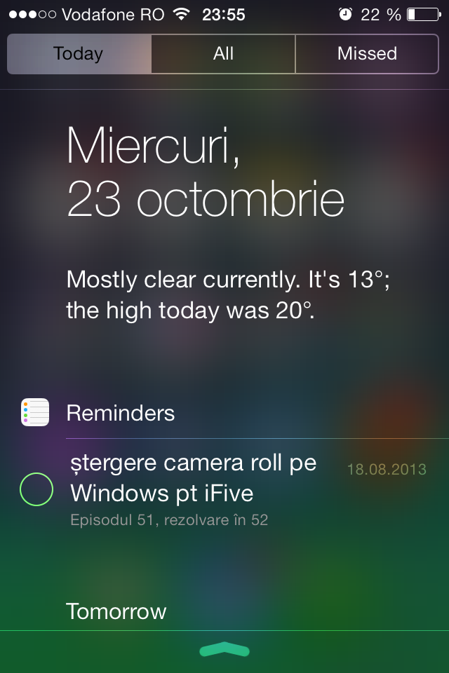 iOS 7 Notification Center with Today tab