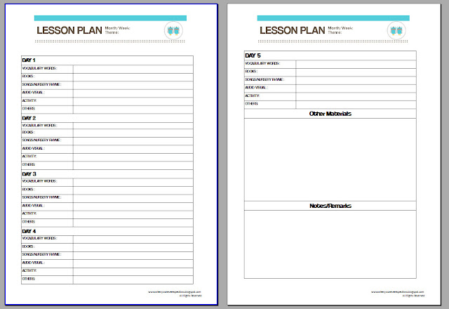 When You Never Expect Two Printables Lesson Plan Template - Downloadable lesson plan template