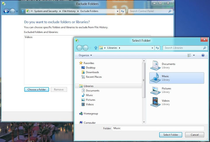 Windos 8 File History select Exclusions