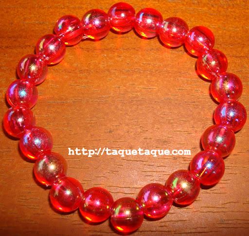 pulsera de bolas rojas transparentes