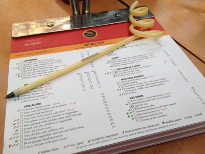 Order Pad at the Noodle House Restaurant in Burjuman Mall, Dubai