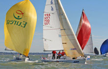 J/80s sailing around mark- Student Yachting World cup