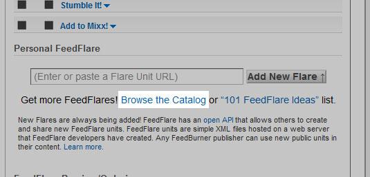 Browse the Catalog para procurar outras opções de FeedFlare