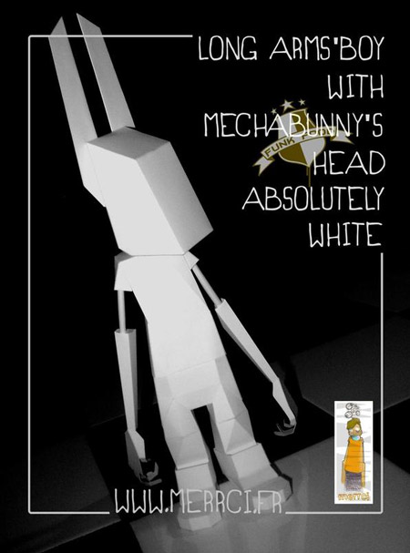 Long Arms Boy With MechaBunny Head Paper Toy