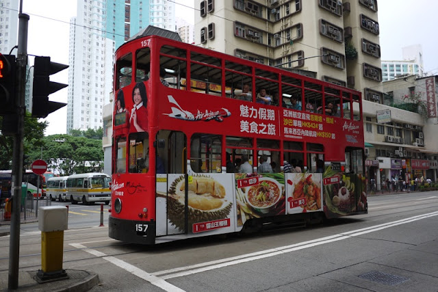 Tram in Hong Kong with Air Asia advertising