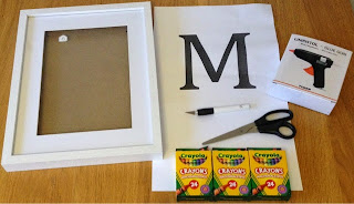 DIY Framed Crayon Letter project essentials