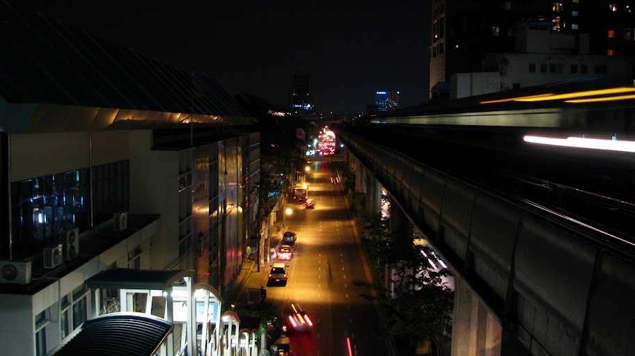View of road and Skytrain, Bangkok.