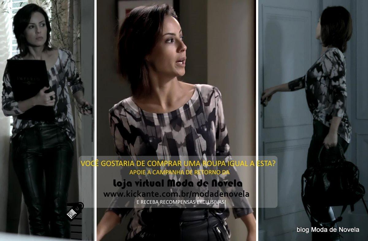 moda da novela Império, look da Maria Clara dia 14 de fevereiro de 2015