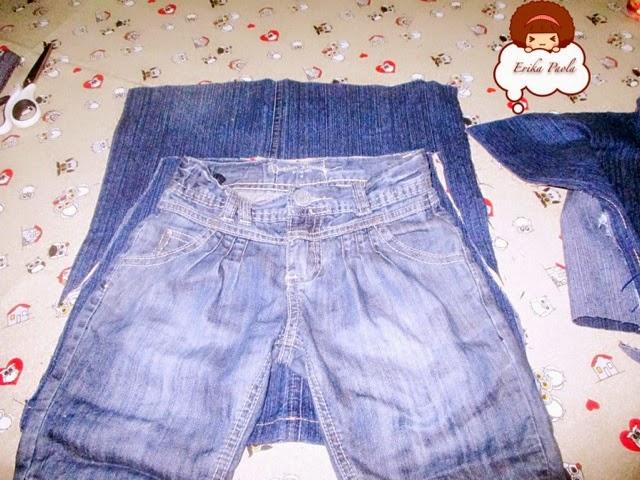 d3d8c1bcad Erika Paola  Mini falda de niñas hecha con un par de jeans reciclados.