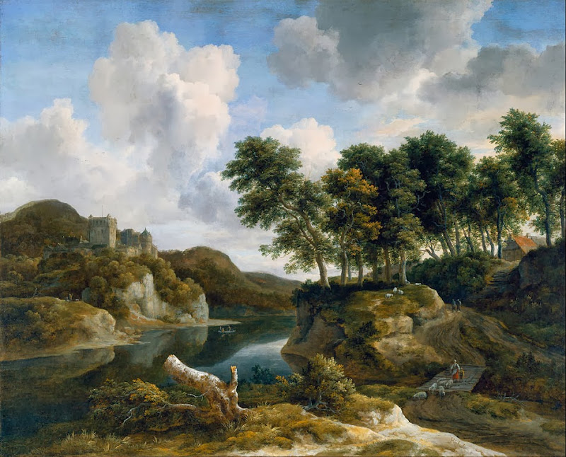Jacob van Ruisdael - River Landscape with a Castle on a High Cliff - Google Art Project