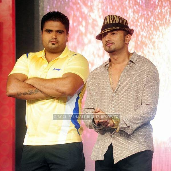 Bhupinder and Yo Yo Honey Singh during the launch of World Kabaddi League, held at Le Meridian, New Delhi, on July 24, 2014.