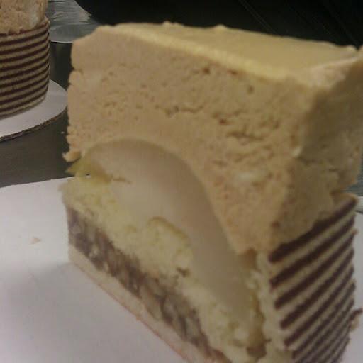 Torte: genoise, caramel nut filling, poached pears, caramel mousse ...