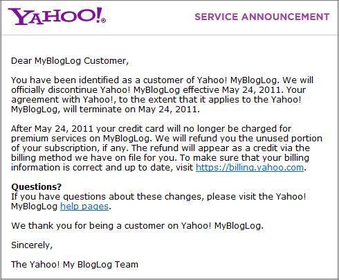 Yahoo's service announcement on MyBlogLog