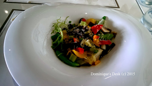 Chocolate pasta with mixed vegetables