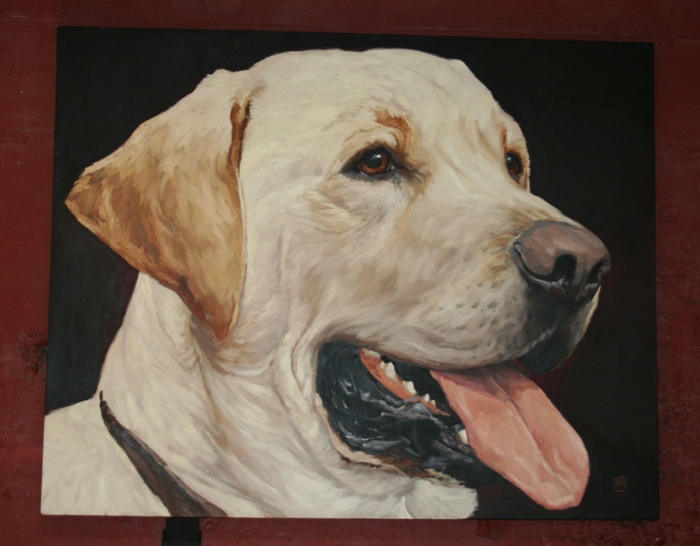 painting of a large yellow lab head which was on the restaurant wall