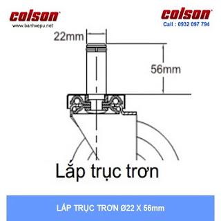 Bảng vẽ kích thước trục trơn bánh xe đẩy cao su Performa dẫn điện chịu tải trọng 114kg :