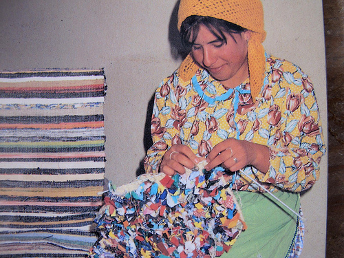 Fabric Strips To Rag Rug Combination Of And Knitting