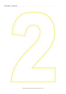Dibujo para colorear y pintar el número dos en color amarillo