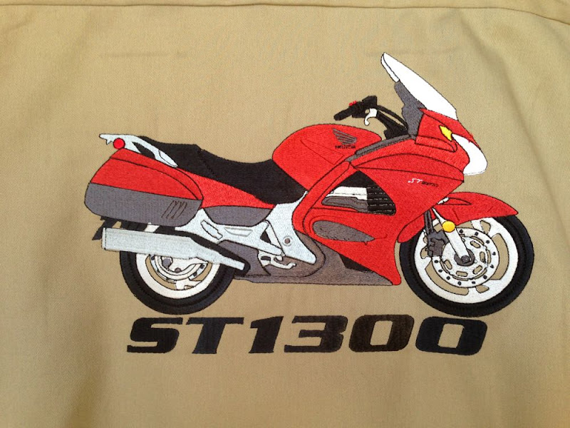 ST1300 embroidery on tan dickies workshirt