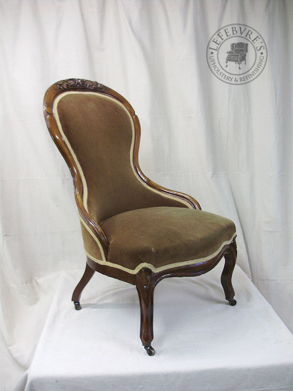 Some of the breaks: - Lefebvre's Upholstery: Antique Victorian Slipper Chair - Red Toile