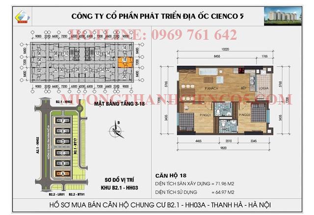 Sơ đồ chi tiết căn hộ chung cư b2.1 HH03A căn 18