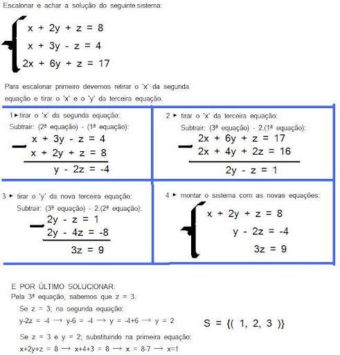estalonamento matriz e sistemas lineares