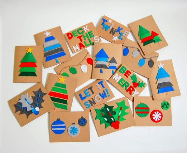 Cartões de Natal de feltro