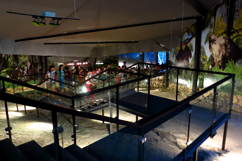 Kids walking the elevated walkways over the dinosaur footprint exhibit