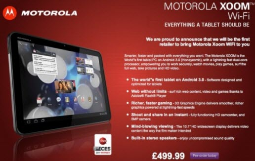 Motorola-Xoom WIFI Only version available
