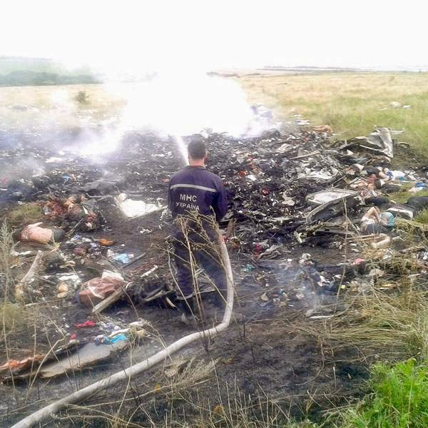 A man works at putting out a fire at the site of a Malaysia Airlines Boeing 777 plane crash in the settlement of Grabovo in the Donetsk region, July 17, 2014.