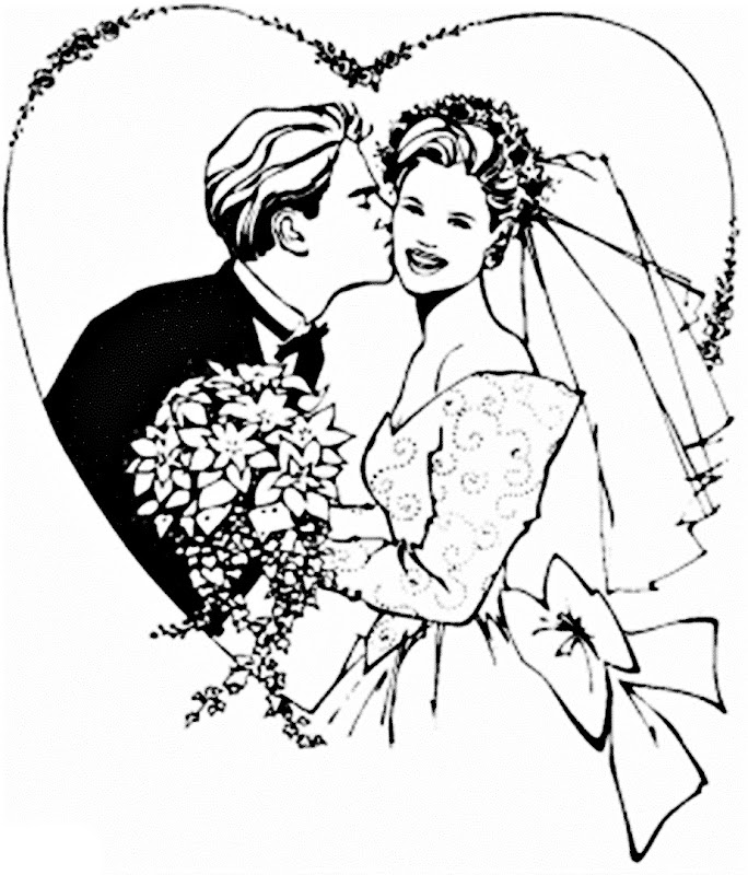 Images bride and groom coloring pages