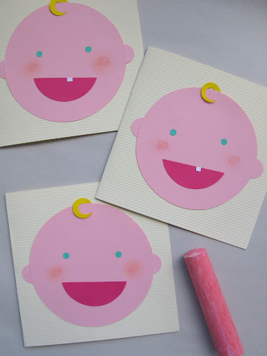 Use chalk to give your baby rosy cheeks—blend with your finger or a cotton ball.