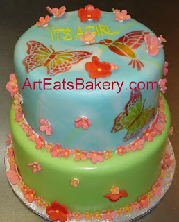 Butterfly Pink, Red, Green And Blue Girl Baby Shower Cake With Sugar Flowers