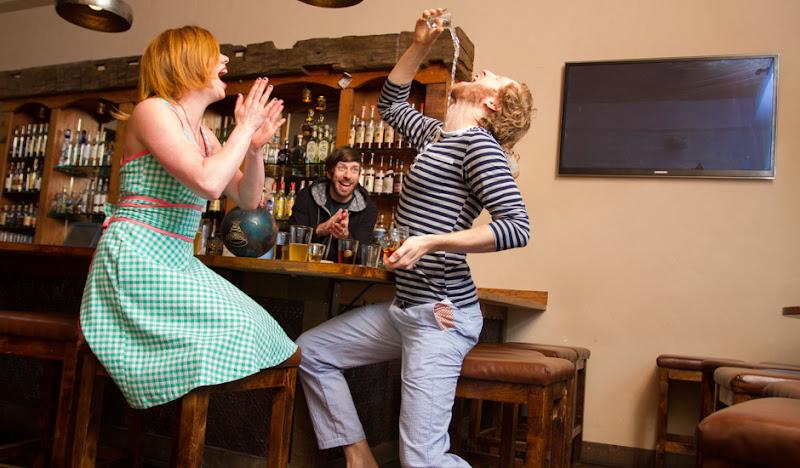 Blue Seersucker Pants - Bar Scene