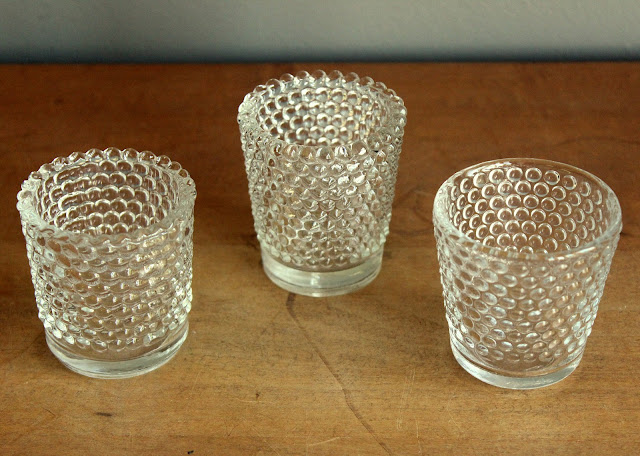 Clear hobnail votive holders available for rent from www.momentarilyyours.com