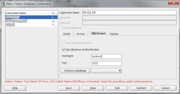 Error when using SQL Developer to connect to MS SQL using Windows Authentication