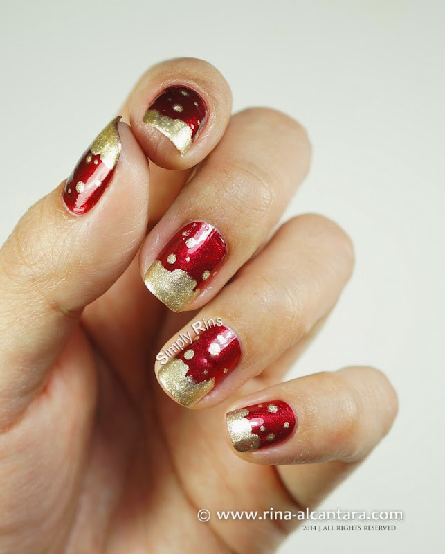Gold Frosting Christmas Nail Art Design by Simply Rins