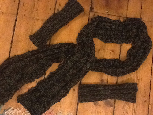 Knitted scarf and gloves