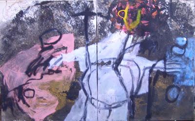 Nature morte, 1998 100 x 160 cm, dyptique, t.m. sur toile