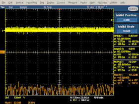Low frequency oscilloscope trace from Apple iPad charger