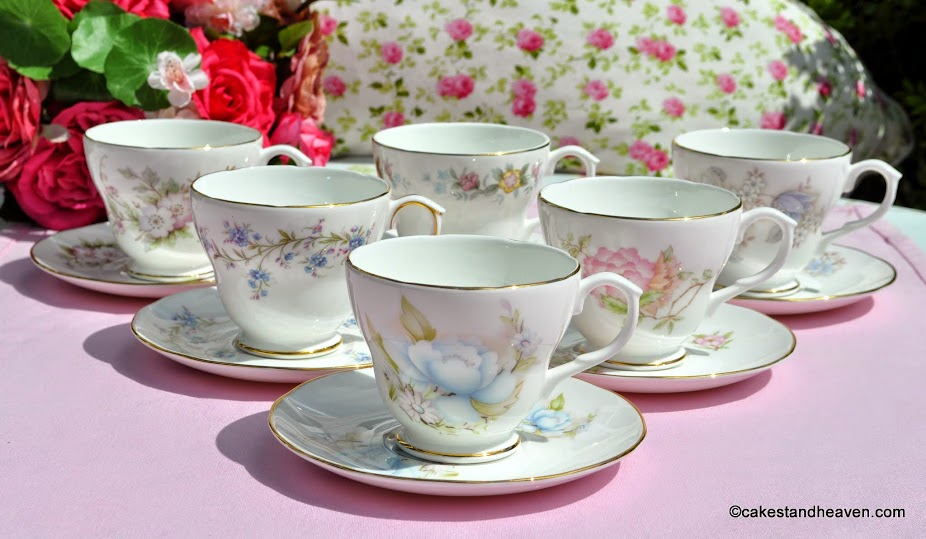 set of six bone china vintage teacups and saucers