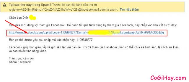 xác minh địa chỉ email facebook