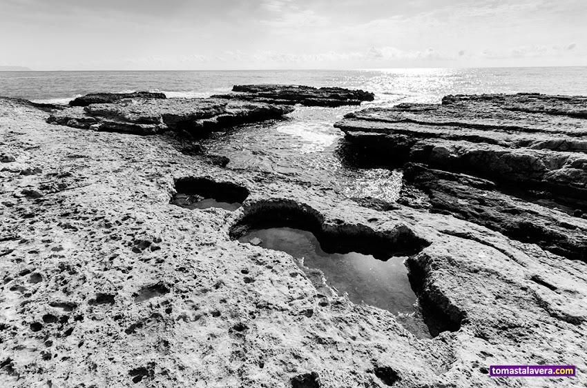 Nikon D5100, 10-20 mm, Paisajes, Blanco y negro, Los Baños de la Reina, El Campello, Horizonte, Mar, Rocas,